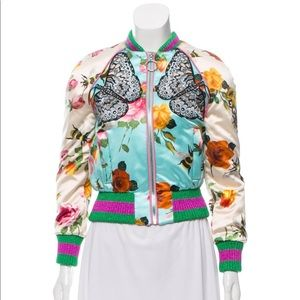 Gucci Floral Butterfly Embroidered Silk Bomber